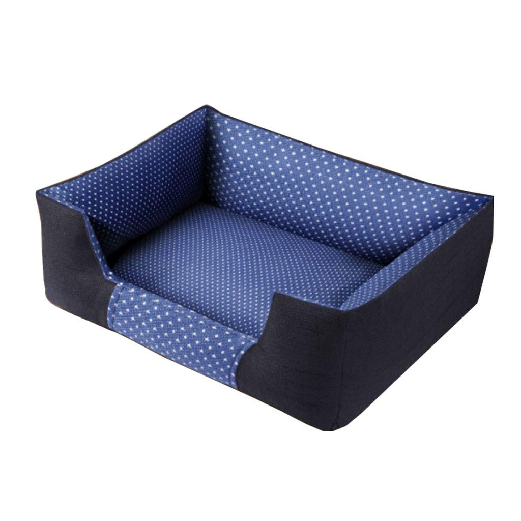 bluee S 5545cm bluee S 5545cm Kennel QIQIDEDIAN four seasons removable and washable warm medium small dog supplies (color   bluee, Size   S 55  45cm)