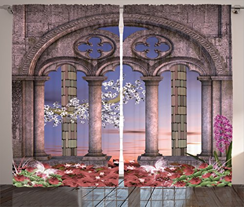 Ambesonne Gothic House Decor Curtains, Ancient Colonnade in Secret Garden with Flowers at Sunset Enchanted Forest, Living Room Bedroom Decor, 2 Panel Set, 108 W X 84 L inches, Blue Lilac Dried Rose