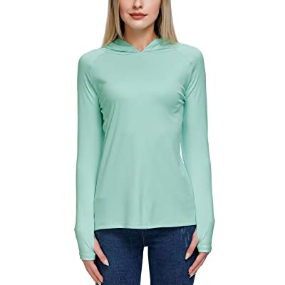 Women's UPF 50+ UV Sun Protection Long Sleeve Hoodies Thumb Holes Outdoor Workout Hiking T-Shirts at Women's Clothing store