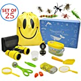 MIMIEYES Outdoor Exploreation Kit for Kids - 25 Pack Kids Adventurer Gift Set with Binoculars, Magnifying Glass, Compass, Flashlight, Whistle,Drawstring Bag, Butterfly Net, Bug Collector, Shovel