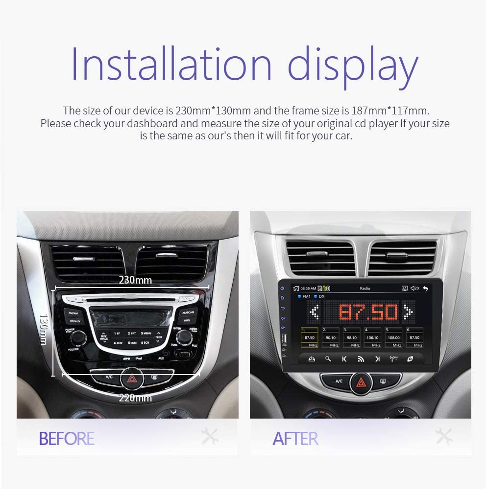9 Inch HD Touch Screen Car Multimedia Steering Wheel Control for Android iOS Phone ET155 eTakin Single Din Car Stereo FM Radio Audio Bluetooth Car Play with USB//AUX//BT//TF Card Support Mirror Link