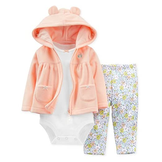 12263c730c0f46 Carters Infant Girls 3 Piece Set Fleece Orange Owl Hoodie Flower Leggings  Shirt