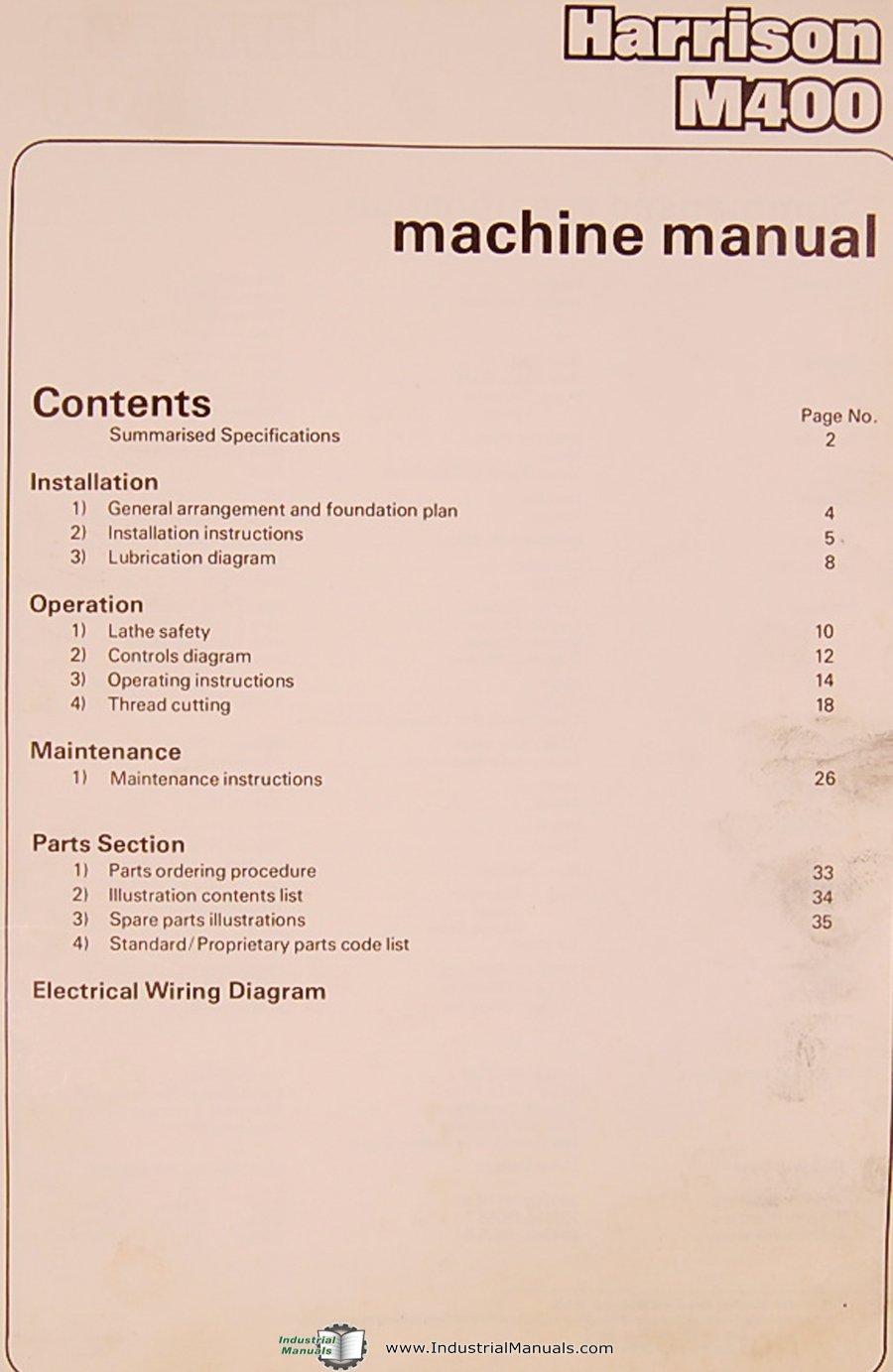Harrison M400, 420mm Centre Lathe, Operations Parts & Electrical Manual:  Harrison: Amazon.com: Books