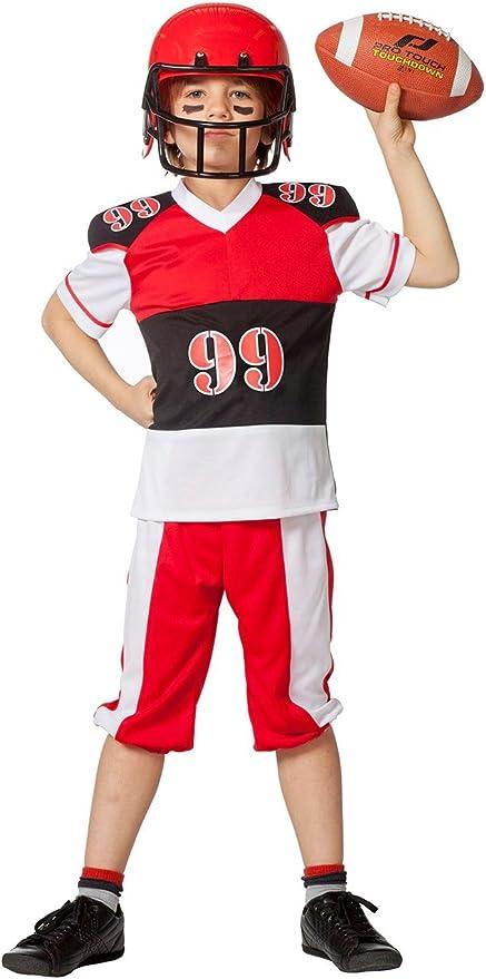 The Fantasy Tailors Disfraz de Jugador de fútbol Americano, niños, Rojo, Negro y Blanco, para Carnaval o Carnaval,, Noche de Atletismo, tamaños: Amazon.es: Juguetes y juegos