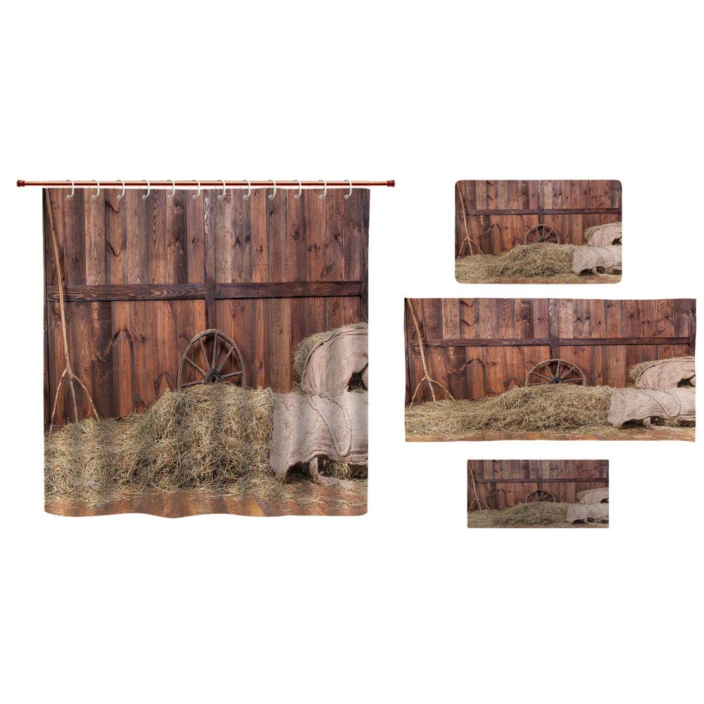 iPrint Bathroom 4 Piece Set Shower Curtain Floor mat Bath Towel 3D Print,Horse Stable Barn Interior Hay and Wood Planks,Fashion Personality Customization adds Color to Your Bathroom.