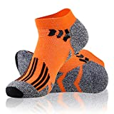 Mens Workout Socks Low Cut, LANDUNCIAGA Compression Running Socks Men, Quarter Socks,Women Cushion Running Socks,Dry Cool Socks,Orange