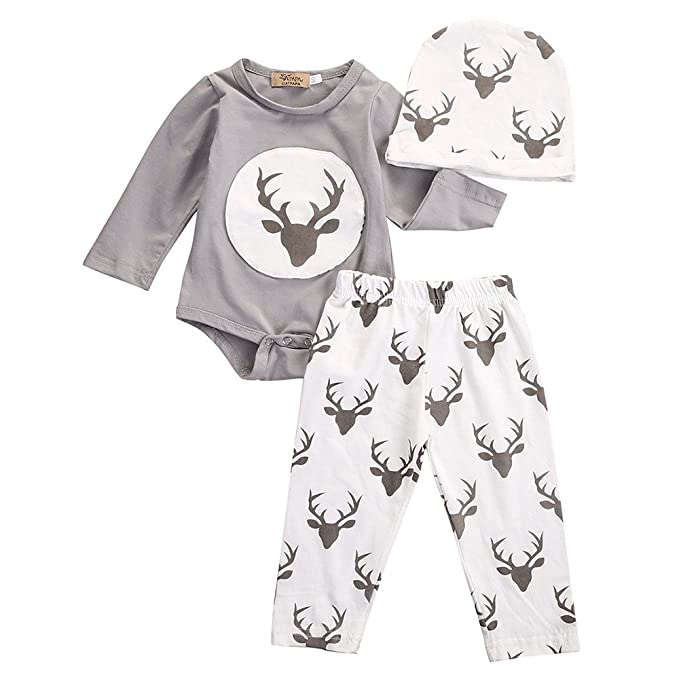 Amazon.com: Memela Juego de ropa de bebé 3 piezas alce ...