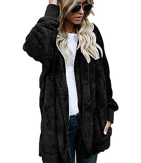 d32c386fc558e SVALIY Womens Fuzzy Fleece Jackets Loose Open Front Hooded Cardigan Coats  Outwear Pockets