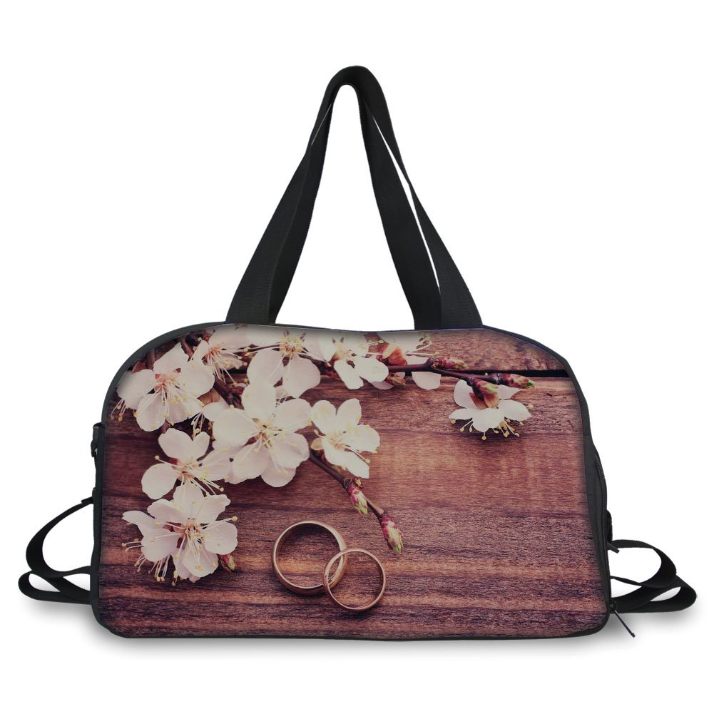 iPrint Travelling bag,Wedding Decorations,Flowering Branch Delicate Rings on Wooden Surface Rustic Effect,Brown White Gold ,Personalized