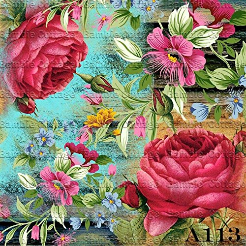 Paper for Decoupage Vintage Style and Decoupage Gift Wrap Size 20x25 Cm Total 3 Sheets Bansuansukdee
