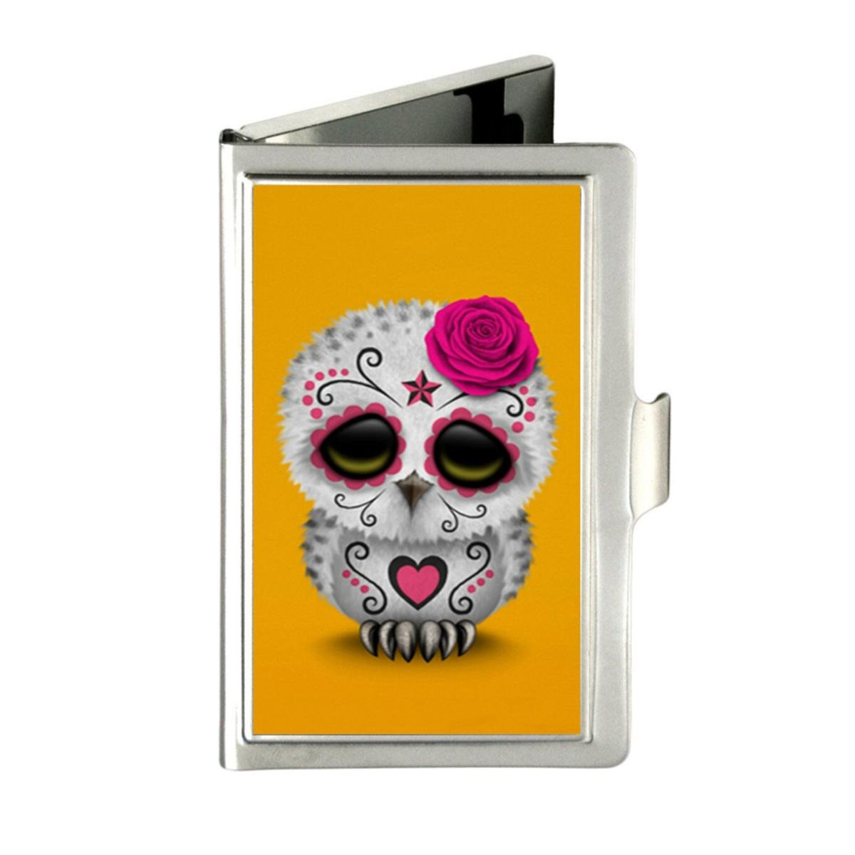 Udoosun Cute Day Of The Dead Sugar Skull Owl Yellow Custom Business Bank Name Card Case Holder Box Pocket Credit Card ID Wallet