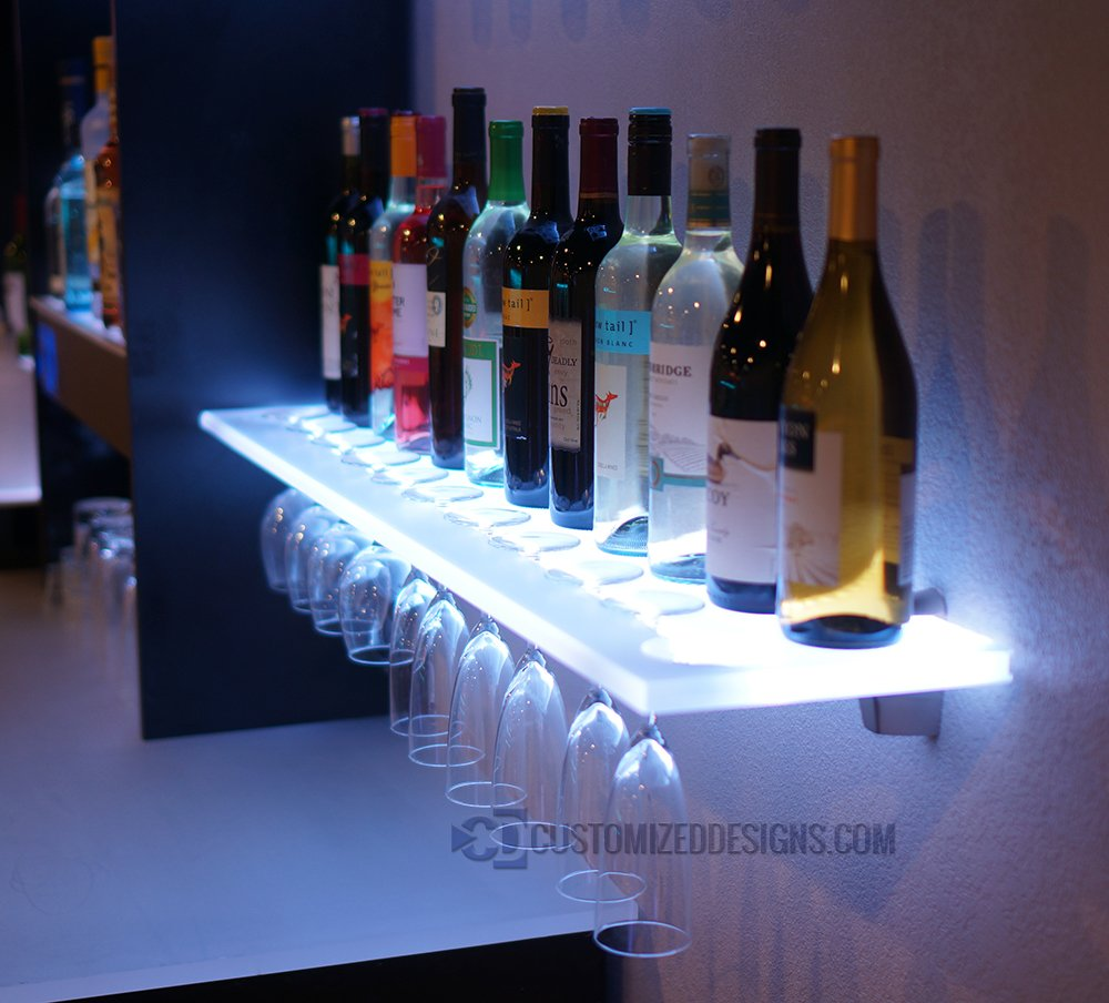 Amazon.com: 3u0027 LED Lighted Floating Bar Shelving With Integrated Wine Glass  Rack (Shelf Only): Kitchen U0026 Dining
