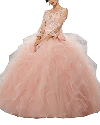 1f8990b3ba5 LUBridal Beaded Lace Sweet 16 Ball Gowns Long Sleeve Quinceanera Dresses  Formal Prom Gown at Amazon Women s Clothing store