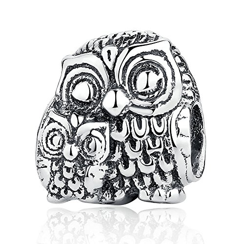 Everbling Charming Owls Mom and Baby Owl Wisdom Bird 925 Sterling Silver Bead Fits European Charm Bracelet (Mom and Baby Owl)