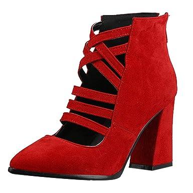 Botines Mujer Tacon Alto,ZARLLE Cuero Botas 8.5 Cm Otoño Zapatos De Botas Comodos Fiesta Negro, Azul, Rojo 35-43: Amazon.es: Ropa y accesorios