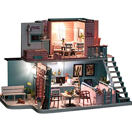 DIY Doll House Kit Wooden Toy Furniture Birthday Gift Pink Cafe