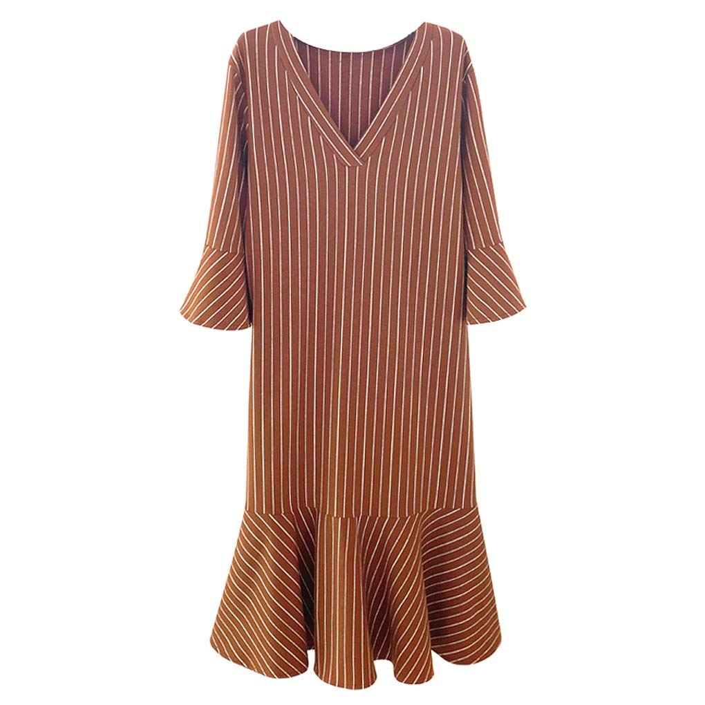 Brown Nightdress Simple Style New LongSleeved Cotton Nightdress Striped Slim Ruffled Loose Home Service (color   Brown, Size   L)