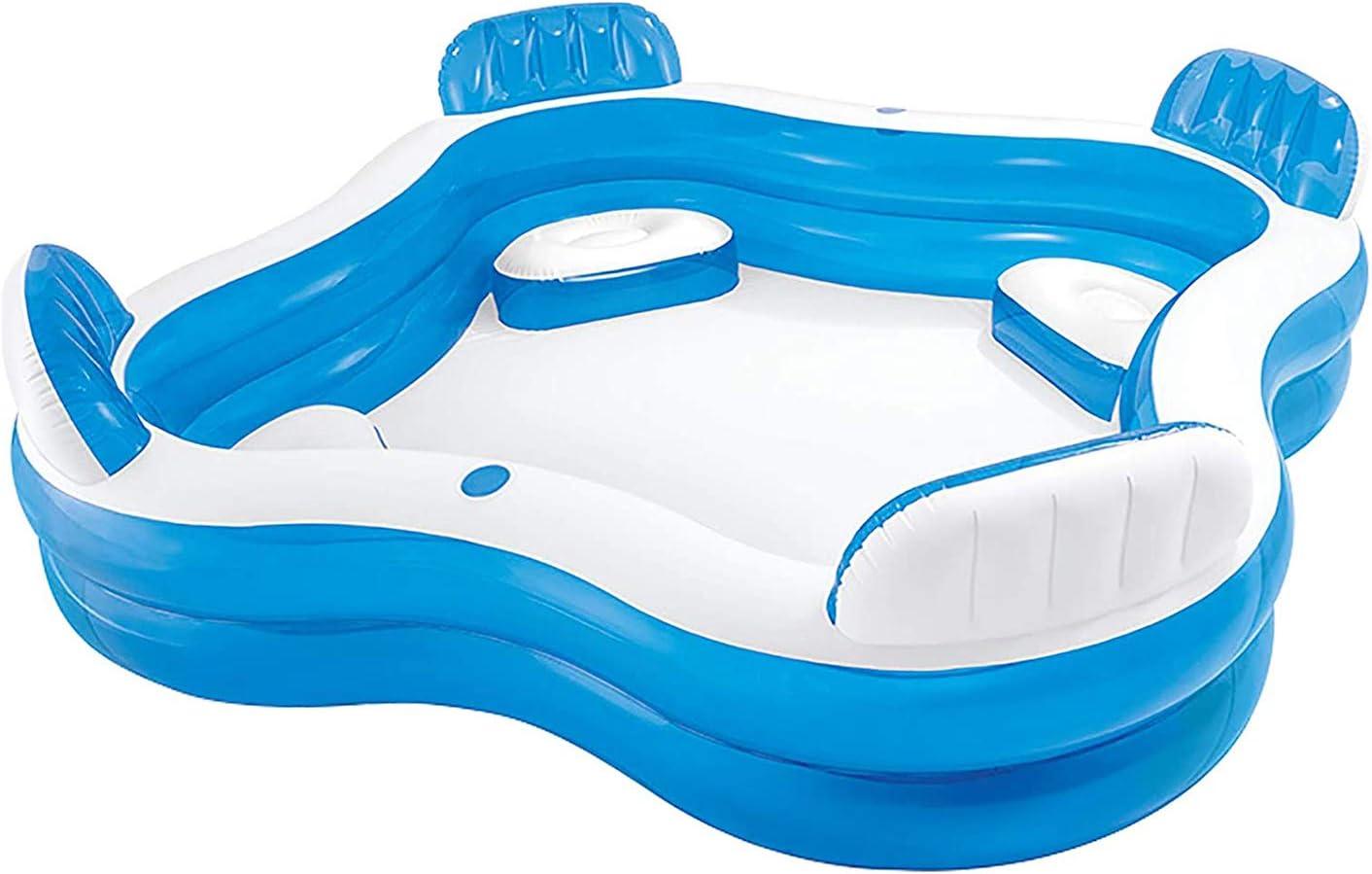 Xb Piscina Inflable, Swim Center Pool Familia con Asientos, baño Engrosada Transparente, 229 x 229 x 56 cm