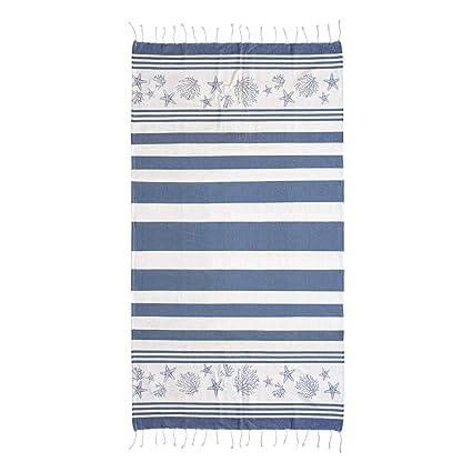 """Toalla Pareo """"Arrecife"""" Marino, 100x200 cm - Foutas, pareos y toallas"""