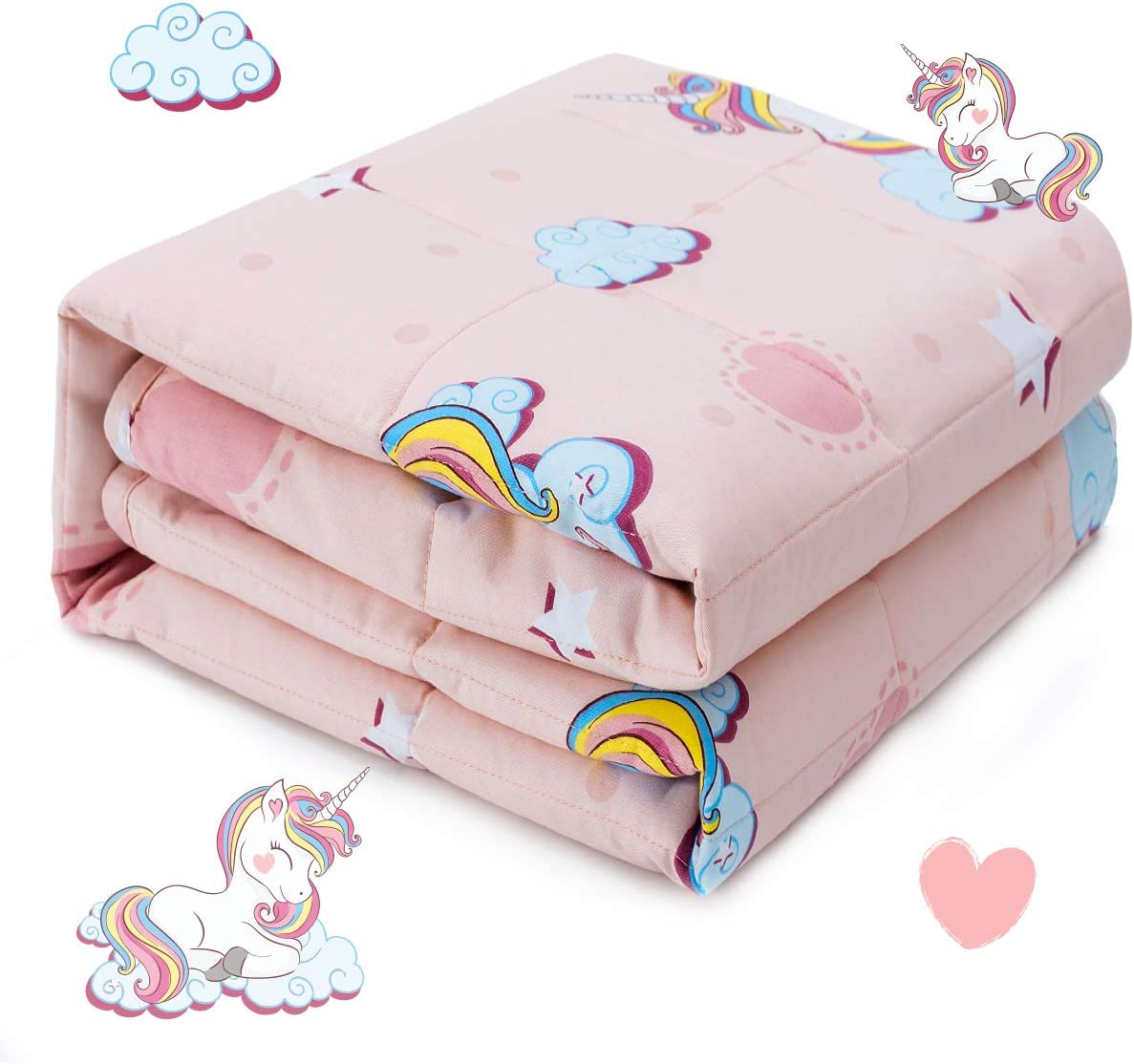 3lbs 36x48 inch Minky Dotted Cover Machine Washable Pink Rainbow Unicorn Sivio Kids Weighted Blanket /& Removable Duvet Cover Set 100/% Cotton Weighted Comforter with Glass Beads