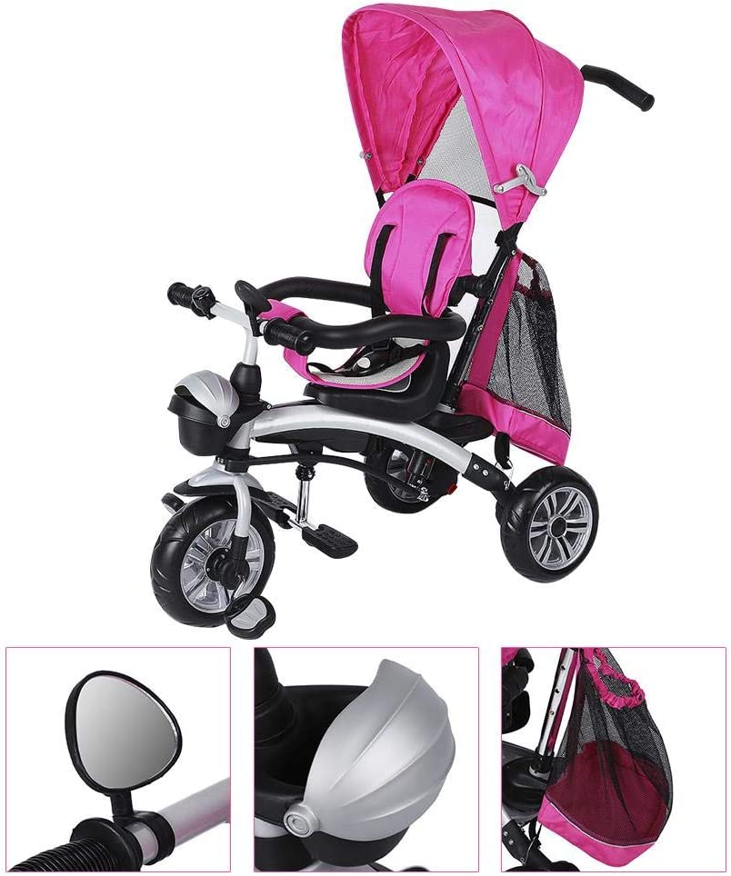 Rose EBTOOLS Kids Baby Stroller,Pram Tricycle 360 Degree Seat Rotation Childrens Tricycle Bicycle with 2 Brakes Children Learn to Ride on Trike Stroller Gift
