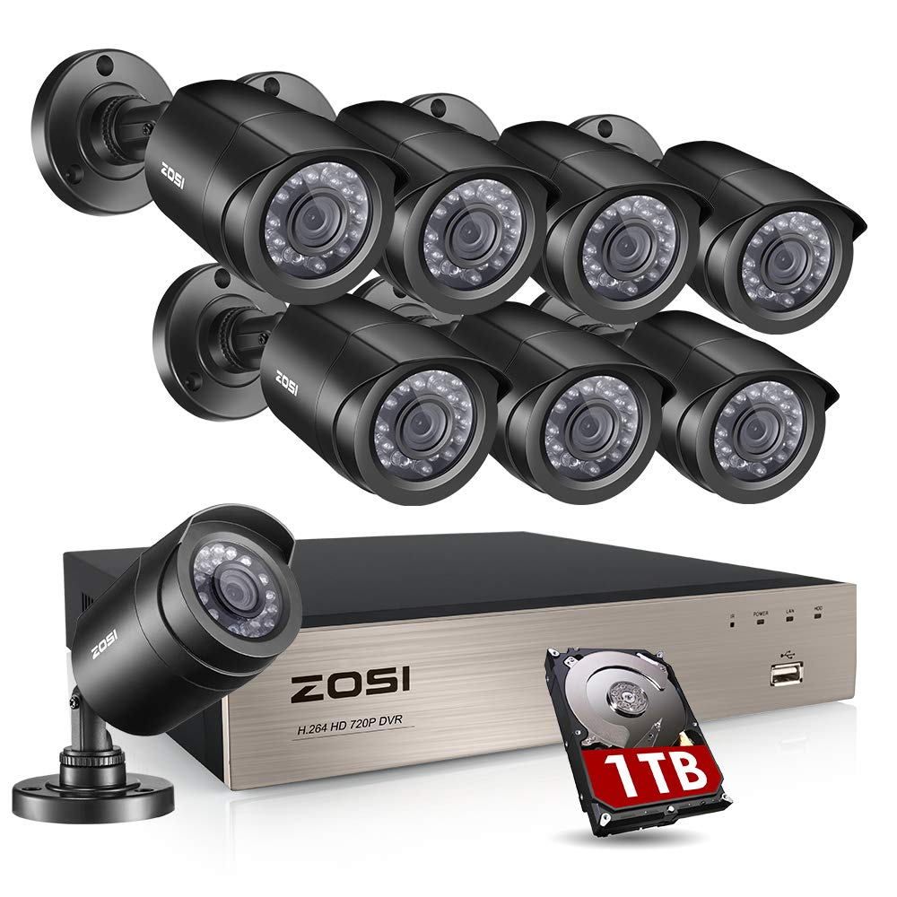 ZOSI 8-Channel 4-in-1 HD-TVI 1080N/720P Video Security System DVR recorder with 8x HD 1280TVL Indoor/Outdoor Weatherproof CCTV Cameras 1TB Hard Drive ,Motion Alert, Smartphone& PC Easy Remote Access