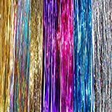 """40"""" Hair Tinsel 210 Strands Seven Colors (Sparkling Silver, Purple, Rainbow, Hot Pink, Gold, White Gold, Blue)"""