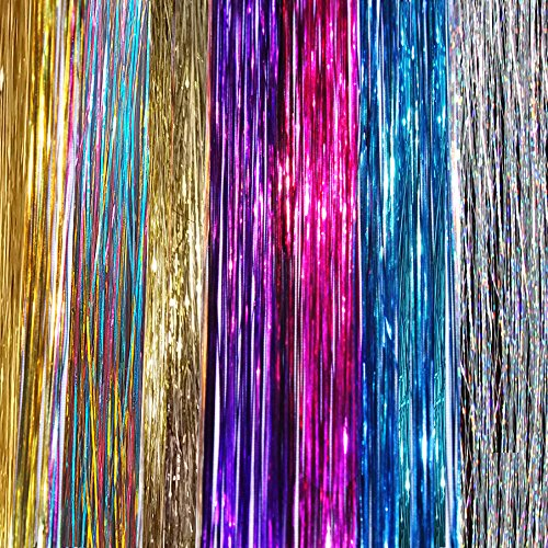 """40"""" Hair Tinsel 210 Strands 7 Colors (Purple, Rainbow, Hot Pink, Gold, White Gold, Blue and Sparkling Silver)"""