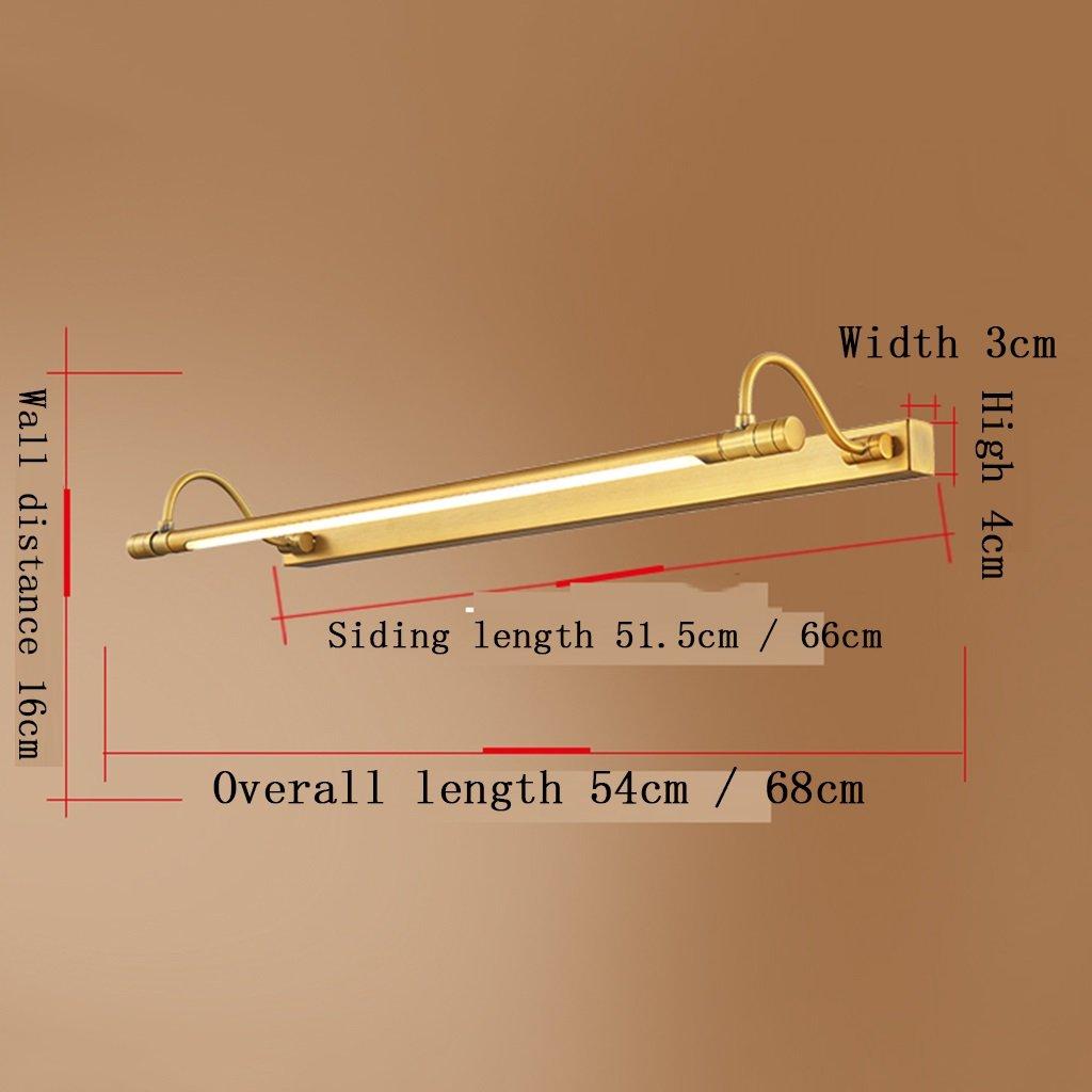 L/ámparas Focos para la Pared Apliques Iluminaci/ón LED Dorado Cobre Tallado Espejo Faros Jane Ba/ño Europeo gabinete luz C/álida luz Blanca Size : 68cm