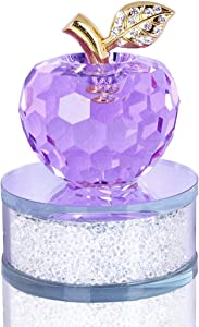 50mm Crystal Faceted Apples Ornament, Glass Apple Figurines Collectibles with Base Glass Statue for Home Table Decor (Purple)