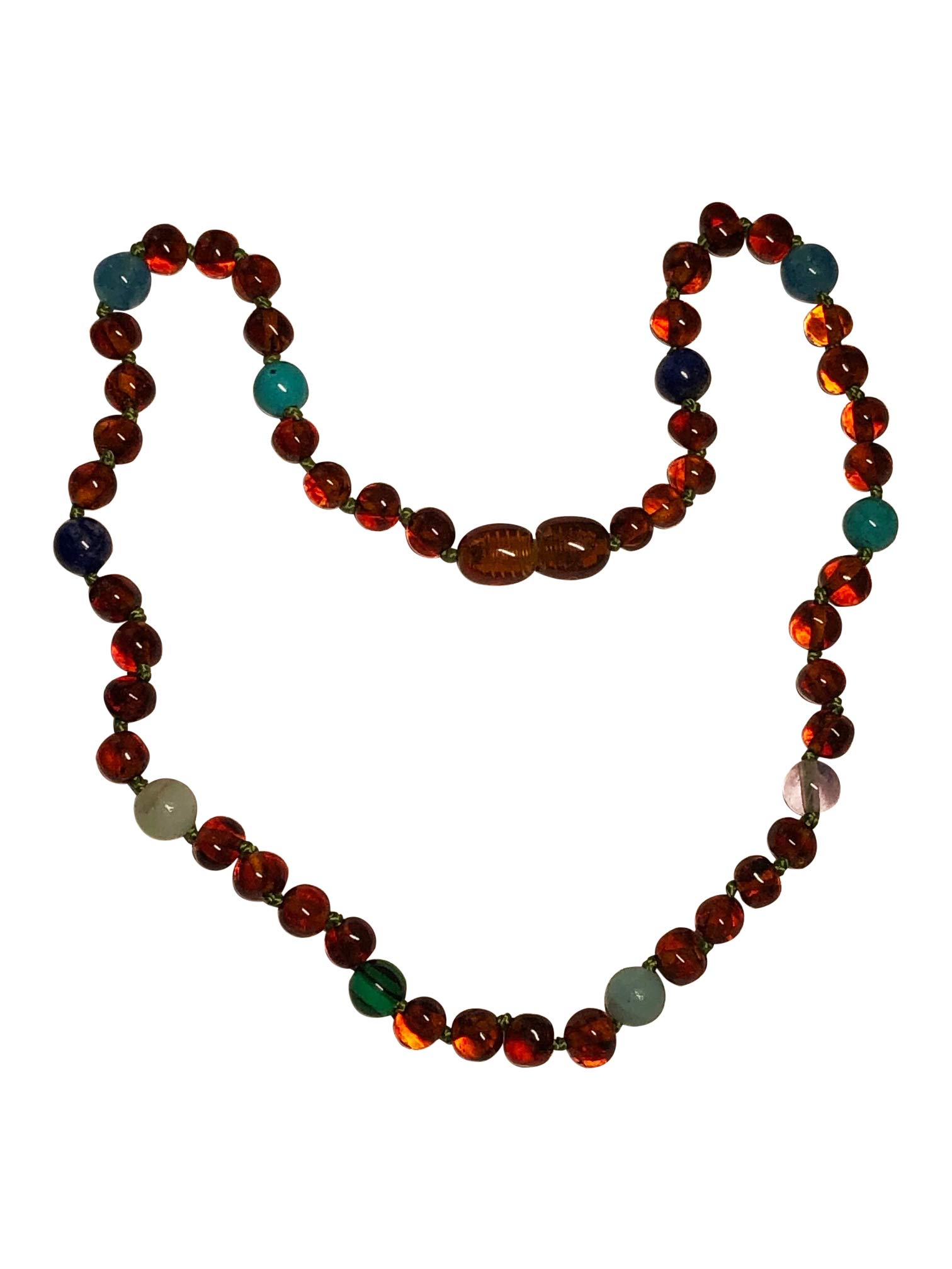 Baltic Amber Necklace For Kids and Teens- 15 inches - Boost Immune System - For Ages 4-16 - Natural Pain Relief- Certified (Polished Blue/Green)