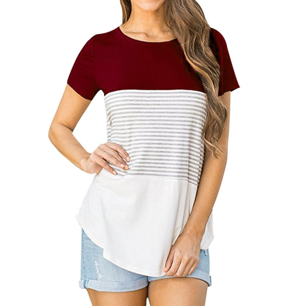 Kingfansion Women T-Shirt Short Sleeve Triple Color Block Stripe Casual Blouse Top