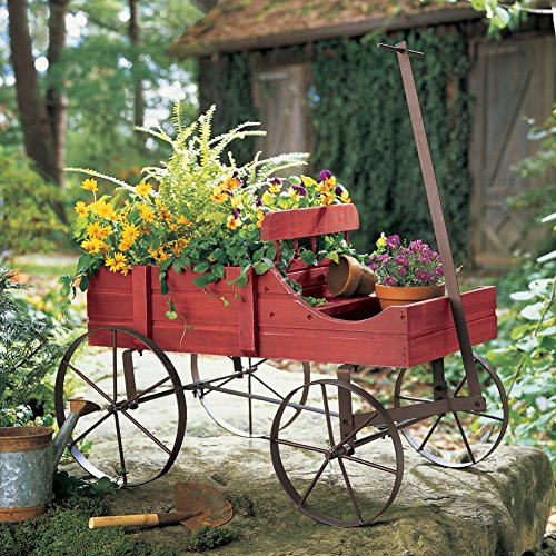 Charming Primitive Country Multi Use Wagon Cart Flower Pot Plant Holder Garden Decor (Red)