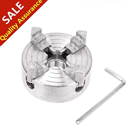 4-Jaw Lathe Chuck,Z011A Zinc Alloy 4-Jaw Chuck Clamp Accessory for Mini Metal Lathe