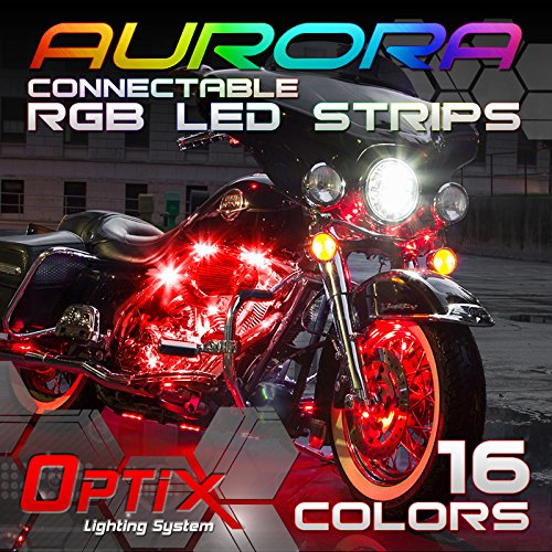 Optix 10 pcs car and motorcycle led strip lights kit 16 colors rgb optix 10 pcs car and motorcycle led strip lights kit 16 colors rgb waterproof connectable underbody neon glow accent lighting with remote controls aloadofball Gallery