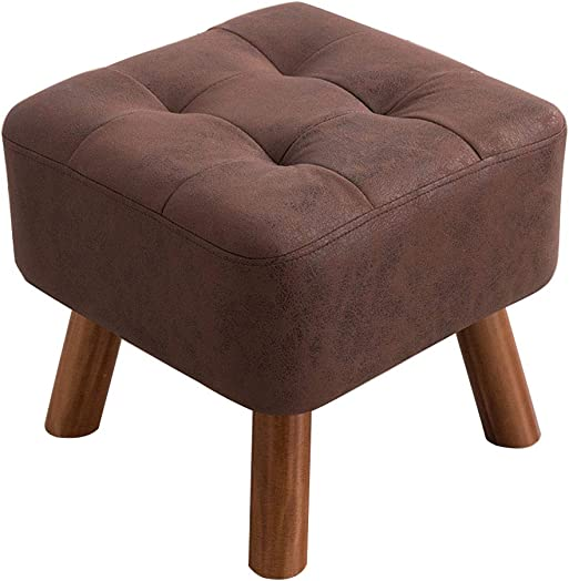Square Footstool Solid Wood Low Stool Padded Upholstered Ottoman Round Pouffe Wooden Legs Max Load 100KG / 40cmx32cm 3 Colors