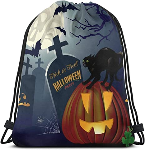 Cute Cat Halloween Pull String Bag Lightweight Women Men Backpack Water Resistant Zipper Cinch Sack