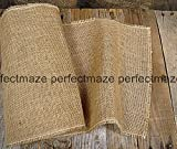 Perfectmaze - Burlap and Lace Table Runner 14 Inches X 108 Inches (20, 14''x 108'' Plain)