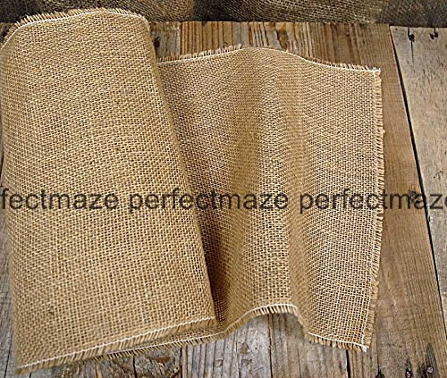 Perfectmaze - Burlap and Lace Table Runner 14 Inches X 108 Inches (20, 14''x 108'' Plain) by Perfect Maze