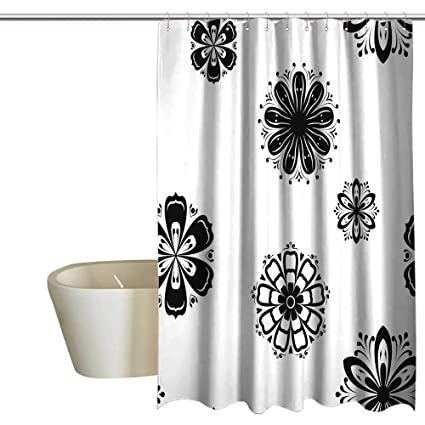 Amazon Shower Curtains Sets Bathroom Seamless Pattern With Flower Element Black And White Abstract Wallpaper Satin Fabric 72 X 84 Home