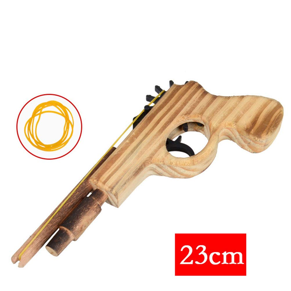 YeahiBaby Wooden Shooting Toy Classic Rubber Band Launcher Pitcher for Kids Children