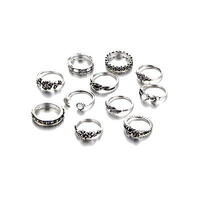 Amazon.com: Juego de 11 anillos de estilo bohemio/é ...
