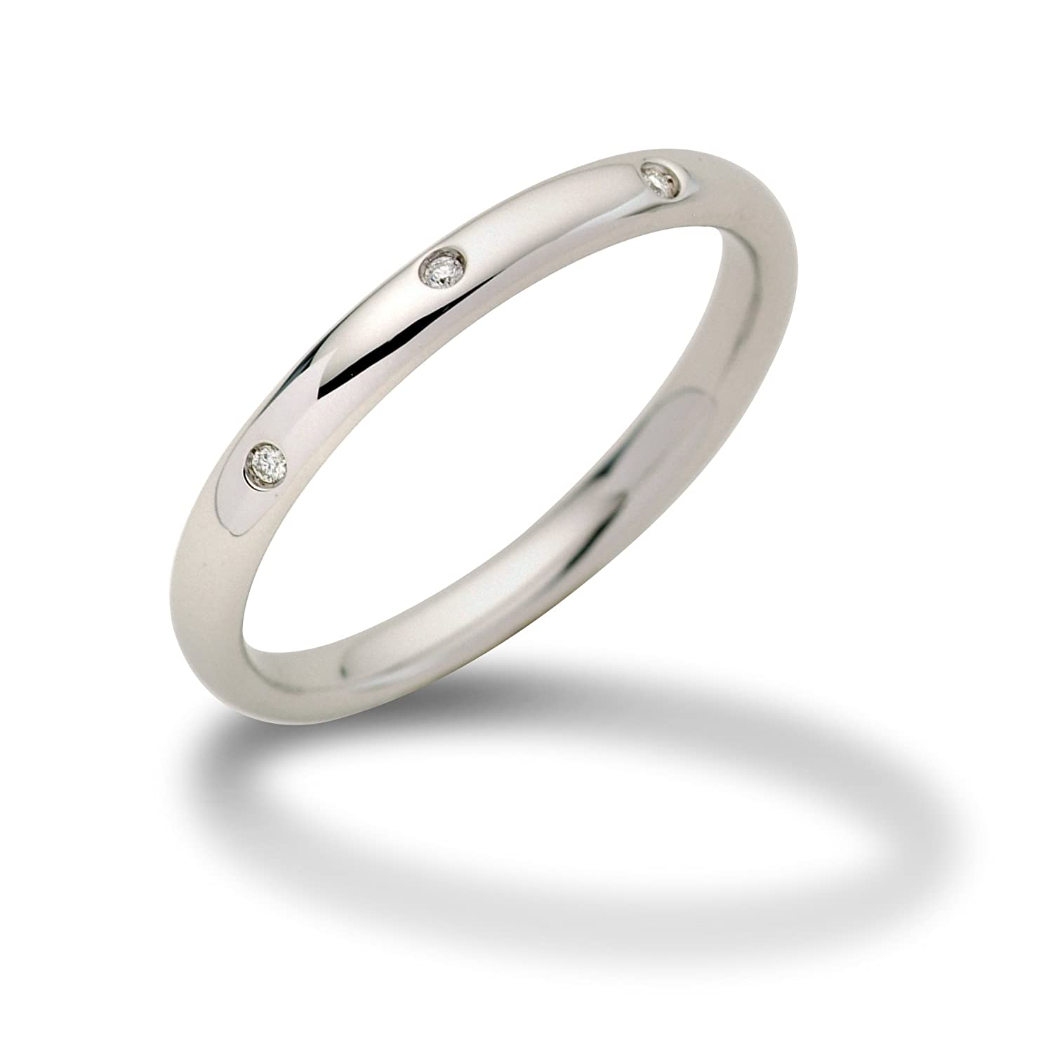 Miore 18ct White Gold Band Ring With Diamonds Amazoncouk Jewellery