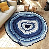 Ustide Washable Creative Growth Rings-Multicolored Modern Round Rug Rural Style Coffee Table Mat Non-skid Living Room Carpet,70.9