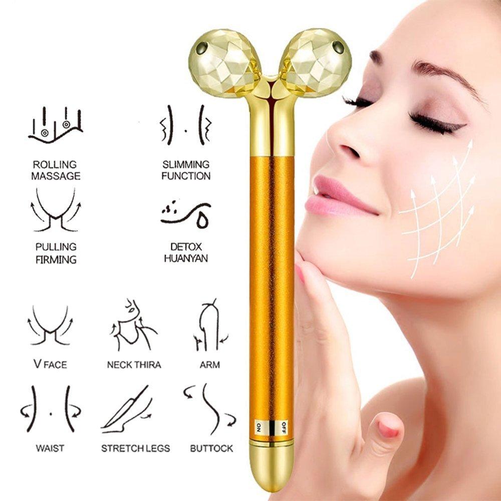 Beauty Bar 24k Golden Pulse Facial Massager, 3D Roller Face Massager Electric Sonic Depuffer Gold Lift Facial Bar Japan (Import) DLM
