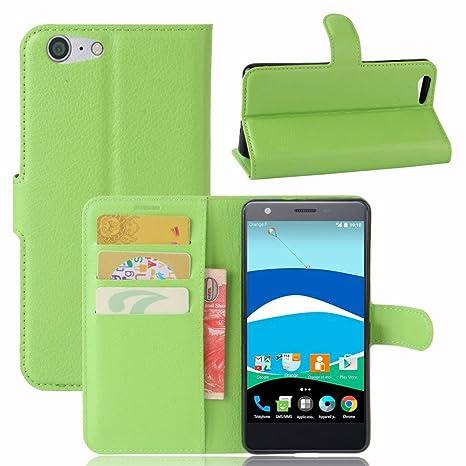 Guran® Funda de Cuero PU Para ZTE Blade V770 Smartphone Función de Soporte con Ranura para Tarjetas Flip Case Cover Caso-verde