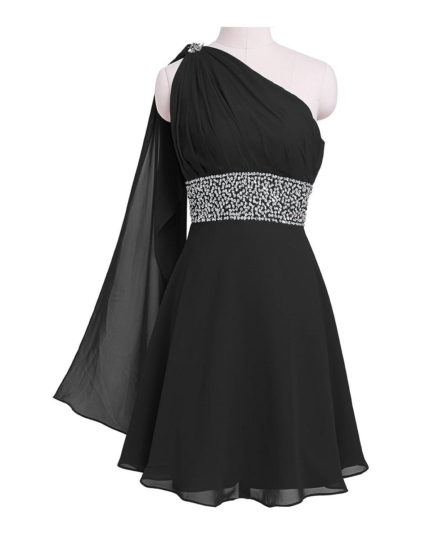 Fashion Plaza Chiffon Ribbon One-shoulder Bridesmaid Formal Evening Cocktail Party Dress D0172