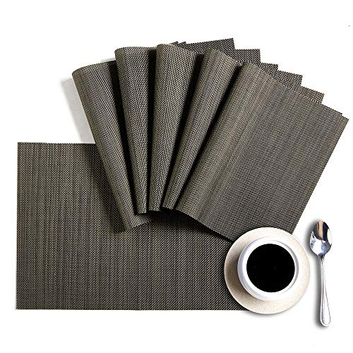 HQSILK Placemats, PVC Table Mats,Placemat Sets of 6 Non-Slip Washable Coffee Mats,Heat Resistant Kitchen Tablemats  (Black+Gray)