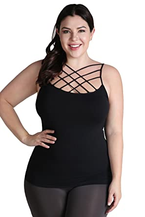 f05134aedd94d Nikibiki Womens Seamless Plus Size Triple Cross Camisoles (Black) at ...
