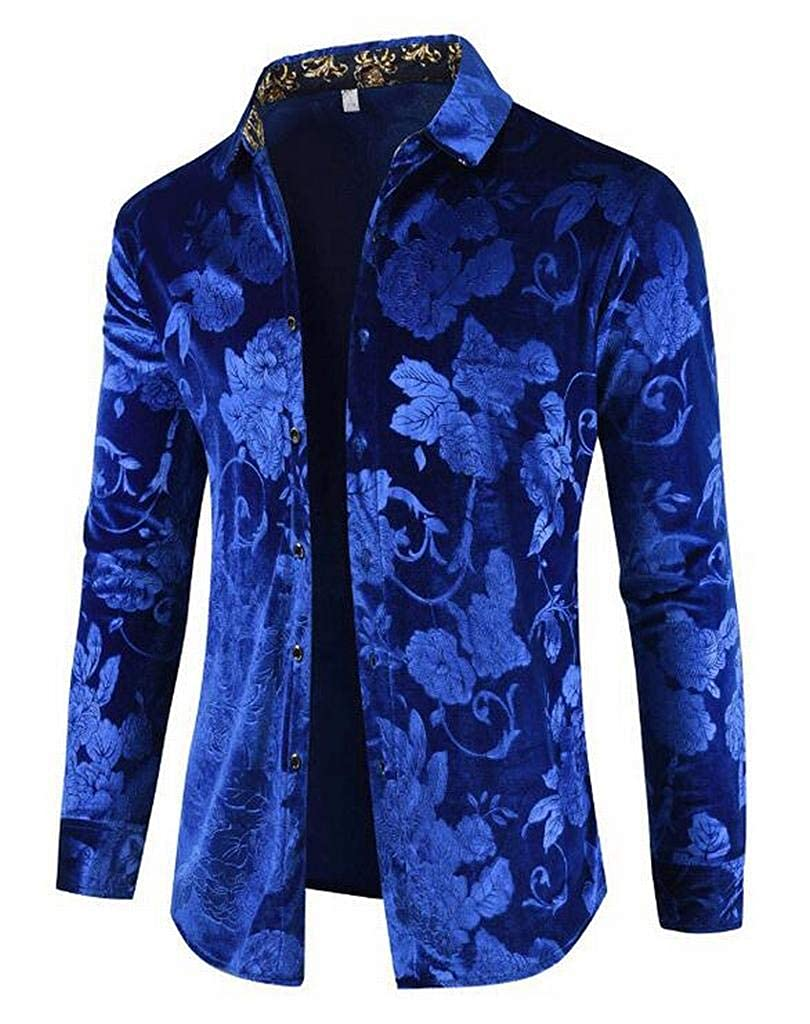 Jotebriyo Mens Regular Fit Long Sleeve Casual Lapel Velvet Print Button Up Dress Work Shirt